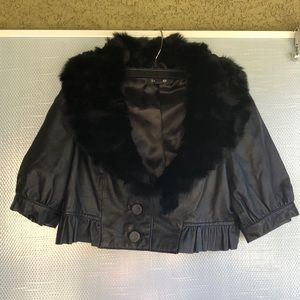 Bebe Leather and Rabbit Fur Cropped Jckt Shawl M